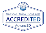 Logo for AdvancEd. Text reads NCA CASI, NWAC, and SACS CASI Accredited. AdvancED